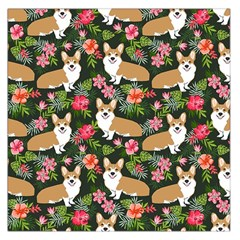 Welsh Corgi Hawaiian Pattern Florals Tropical Summer Dog Large Satin Scarf (square) by Celenk