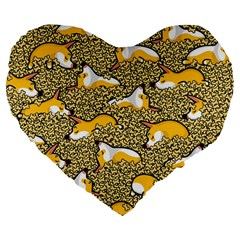Sleeping Corgi Large 19  Premium Flano Heart Shape Cushions by Celenk