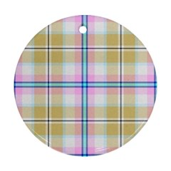 Pink And Yellow Plaid Ornament (round) by allthingseveryone