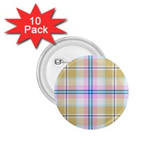 Pink And Yellow Plaid 1 75  Buttons (10 Pack) by allthingseveryone