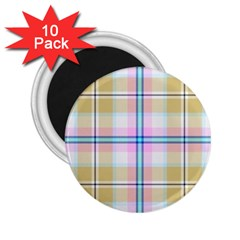 Pink And Yellow Plaid 2 25  Magnets (10 Pack)  by allthingseveryone