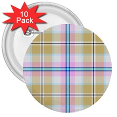 Pink And Yellow Plaid 3  Buttons (10 Pack)  by allthingseveryone