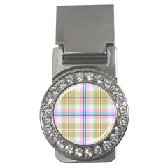 Pink And Yellow Plaid Money Clips (cz)  by allthingseveryone