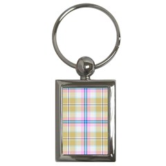 Pink And Yellow Plaid Key Chains (rectangle)  by allthingseveryone
