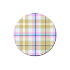 Pink And Yellow Plaid Magnet 3  (round) by allthingseveryone