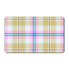 Pink And Yellow Plaid Magnet (rectangular) by allthingseveryone