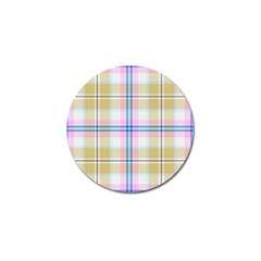 Pink And Yellow Plaid Golf Ball Marker by allthingseveryone