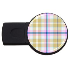 Pink And Yellow Plaid Usb Flash Drive Round (2 Gb) by allthingseveryone