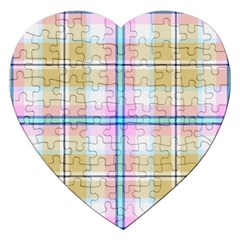 Pink And Yellow Plaid Jigsaw Puzzle (heart) by allthingseveryone