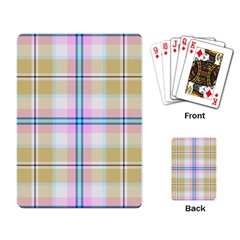 Pink And Yellow Plaid Playing Card by allthingseveryone