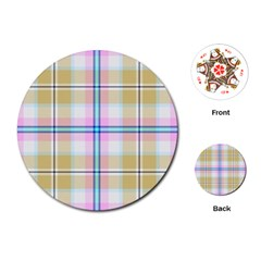 Pink And Yellow Plaid Playing Cards (round)  by allthingseveryone