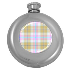 Pink And Yellow Plaid Round Hip Flask (5 Oz) by allthingseveryone