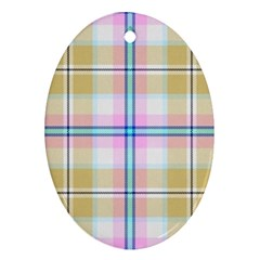 Pink And Yellow Plaid Oval Ornament (two Sides) by allthingseveryone