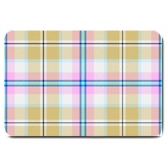 Pink And Yellow Plaid Large Doormat  by allthingseveryone