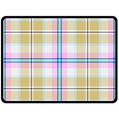 Pink And Yellow Plaid Fleece Blanket (large)  by allthingseveryone