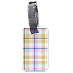 Pink And Yellow Plaid Luggage Tags (one Side)  by allthingseveryone