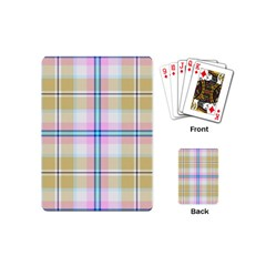 Pink And Yellow Plaid Playing Cards (mini)  by allthingseveryone