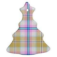 Pink And Yellow Plaid Christmas Tree Ornament (two Sides) by allthingseveryone