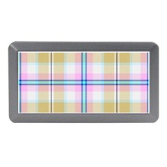 Pink And Yellow Plaid Memory Card Reader (mini) by allthingseveryone