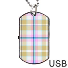Pink And Yellow Plaid Dog Tag Usb Flash (two Sides) by allthingseveryone