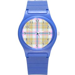 Pink And Yellow Plaid Round Plastic Sport Watch (s) by allthingseveryone