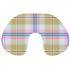 Pink And Yellow Plaid Travel Neck Pillows by allthingseveryone