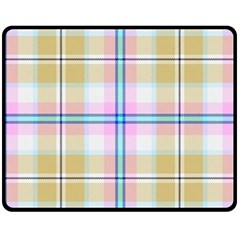 Pink And Yellow Plaid Double Sided Fleece Blanket (medium)  by allthingseveryone