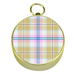 Pink And Yellow Plaid Gold Compasses by allthingseveryone
