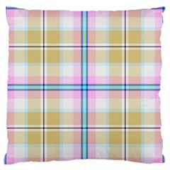 Pink And Yellow Plaid Large Flano Cushion Case (two Sides) by allthingseveryone