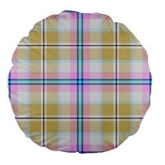 Pink And Yellow Plaid Large 18  Premium Flano Round Cushions by allthingseveryone