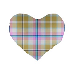 Pink And Yellow Plaid Standard 16  Premium Flano Heart Shape Cushions by allthingseveryone
