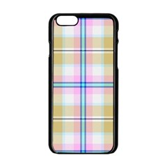 Pink And Yellow Plaid Apple Iphone 6/6s Black Enamel Case by allthingseveryone