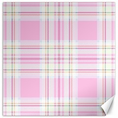 Pink Pastel Plaid Canvas 20  X 20   by allthingseveryone