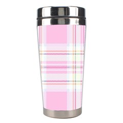 Pink Pastel Plaid Stainless Steel Travel Tumblers by allthingseveryone
