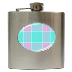 Blue And Pink Pastel Plaid Hip Flask (6 Oz) by allthingseveryone