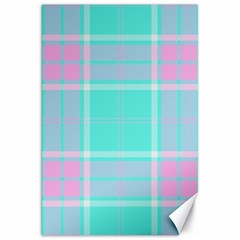 Blue And Pink Pastel Plaid Canvas 20  X 30   by allthingseveryone