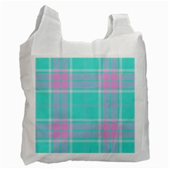 Blue And Pink Pastel Plaid Recycle Bag (one Side) by allthingseveryone