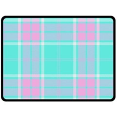 Blue And Pink Pastel Plaid Fleece Blanket (large)  by allthingseveryone