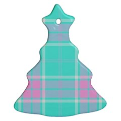 Blue And Pink Pastel Plaid Ornament (christmas Tree)  by allthingseveryone