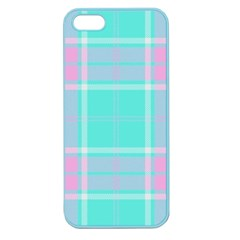 Blue And Pink Pastel Plaid Apple Seamless Iphone 5 Case (color) by allthingseveryone