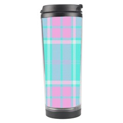Blue And Pink Pastel Plaid Travel Tumbler by allthingseveryone