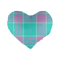 Blue And Pink Pastel Plaid Standard 16  Premium Flano Heart Shape Cushions by allthingseveryone
