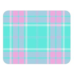 Blue And Pink Pastel Plaid Double Sided Flano Blanket (large)  by allthingseveryone