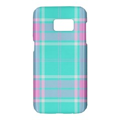 Blue And Pink Pastel Plaid Samsung Galaxy S7 Hardshell Case  by allthingseveryone