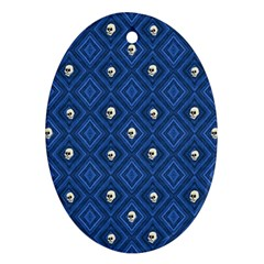 Funny Little Skull Pattern, Blue Ornament (oval) by MoreColorsinLife