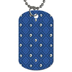 Funny Little Skull Pattern, Blue Dog Tag (two Sides) by MoreColorsinLife