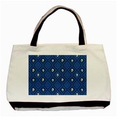 Funny Little Skull Pattern, Blue Basic Tote Bag by MoreColorsinLife