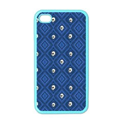 Funny Little Skull Pattern, Blue Apple Iphone 4 Case (color) by MoreColorsinLife