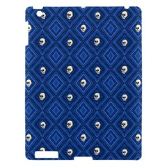 Funny Little Skull Pattern, Blue Apple Ipad 3/4 Hardshell Case by MoreColorsinLife
