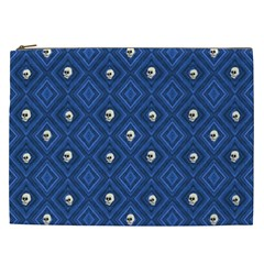 Funny Little Skull Pattern, Blue Cosmetic Bag (xxl)  by MoreColorsinLife